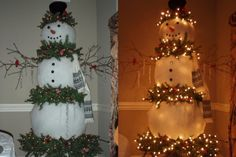 Christmas tree snowman--too cool!