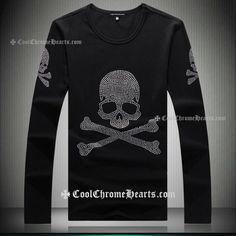 Rhinestones Skulls Black mastermind Japan Long T-Shirt