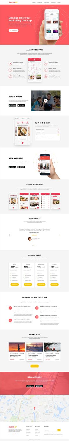 SmartomApp is a creative #PSD template for #app landing page website with clean & unique UI elements download now➩ https://themeforest.net/item/smartomapp-app-landing-psd-template/19573371?ref=Datasata