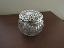 Antique Sterling Silver Large Glass Powder Jar Vanity Boudoir