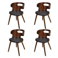 Chaise bois noisette et simili noir Sofa Lot de 2