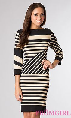 Knee Length Striped Dress with 3/4 Length Sleeves at PromGirl.com