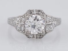 Antique Engagement Ring Art Deco GIA .93ct Old European Cut Diamond in Platinum. Minneapolis, MN.