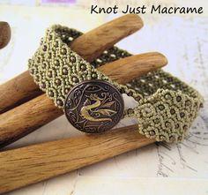 Khaki Dragon Micro Macrame Cuff Bracelet by KnotJustMacrame