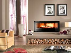 The wood-burning fireplace fits perfectly in any environment, giving to the furnishing charm and elegance. Insert Stove, Fireplace Design, Fireplace Ideas, Contemporary Architecture, New Homes, Living Room, Home Decor, Images, Fireplaces