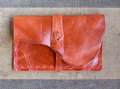 Business Card Case in Rustic Orange Leather by Bernice London