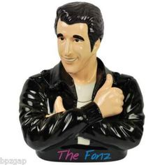 """AAAAY… Arthur Fonzarelli (aka """"The Fonz"""") is here to watch over your sweet stuff in this 10 cookie jar right out of the Happy Days sitcom. They'll be safe, too, because nobody messes with The Fonz! Antique Cookie Jars, Ceramic Cookie Jar, Kinds Of Cookies, Cute Cookies, Food Brand Logos, The Fonz, Vintage Cookies, Biscuit Cookies, Images Google"""