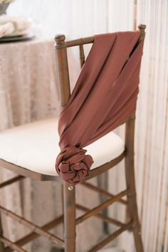 Chair sash evokes elegant touch - white bronze and blush wedding inspiration by Utah Events by Design - Jacque Lynn Photography Wedding Chair Decorations, Wedding Chairs, Decoration Table, Wedding Table, Wedding Chair Sashes, Wedding Linens, Boho Wedding, Bronze Wedding, Chair Ties