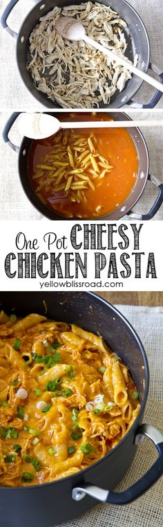 One Pot Cheesy Chicken Pasta #recipe #food #dinner