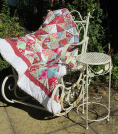 Bobbing along … Garden Seating, Hand Stitching, Baby Strollers, Gypsy, Quilts, Scrappy Quilts, Baby Prams, Garden Seats, Quilt Sets