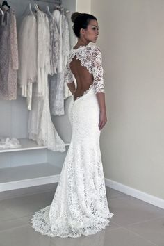 Keyhole Back Wedding Dress.