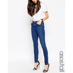 ASOS TALL Ridley Skinny Jeans In Della Dark Wash ($51) ❤ liked on Polyvore featuring jeans, della, skinny leg jeans, high-waisted jeans, tall skinny jeans, high waisted stretch skinny jeans and skinny jeans