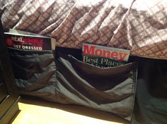 No room for a bedside table--sew pocket magazine holder tucked between mattress and box spring