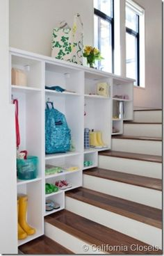 Stairway Cubbies, Great organized closet inspiration!