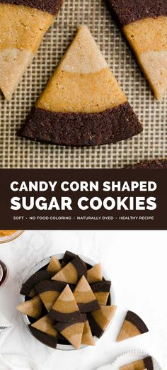 These candy corn shaped sugar cookies are SO cute & perfect for Halloween! They're buttery, soft & sweet. Made with NO food coloring – they have layers of classic, pumpkin & chocolate cookie doughs instead! No cookie cutters needed either! candy corn sugar cookies recipe. candy corn shaped Halloween cookies. Halloween cookies recipes. healthy sugar cookies clean eating. Halloween treats desserts healthy. vegan sugar cookies soft. candy corn cookies recipe. #healthy #cookies #recipe #halloween