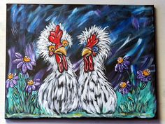 Chicken Wall Art / Original Acrylic Painting on Canvas / Whimsical Country Home Decor / Rustic Kitchen Wall Art / Handpainted Unique Gift Dragonfly Painting, Rooster Painting, Rooster Art, Painting Edges, Acrylic Painting Canvas, Canvas Paintings, Animal Paintings, Mushroom Decor, Mushroom Art