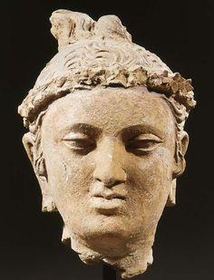 a gandhara terracotta male head 4TH/5TH CENTURY