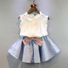 #todddler #girlsuits Pearl Bowknot Skirt Sets. Size available from 18 months to 7 years old