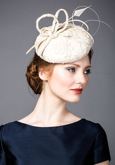 Rachel Trevor Morgan Millinery S/S 2015, R1592 Stone lace pillbox with quills