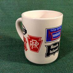 Vintage Mug with 9 RR Railroad Logos  Wabash  by KentuckyTrader
