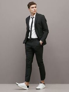 Latest Coat Pant Designs Black Casual Stripe Custom Summer Wedding Suits For Men Groom Slim Fit 2 Pieces Terno Jacket+Pants 467 Outfit Hombre Formal, Formal Men Outfit, Outfits Hombre, Blazer Outfits Men, Stylish Mens Outfits, Skinny Suits, Slim Fit Suits, Mens Fashion Suits, Mens Suits