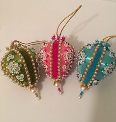 vintage christmas ornaments 3 lee wards beaded embellished rhinestones ebay