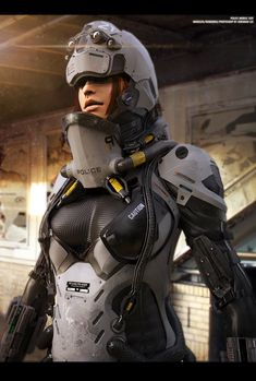 sekigan:  ArtStation - Police Mobile Suit Concept, Jeremiah Lee #Futuristic