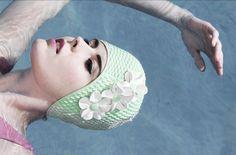bathing beauty mint green swim cap