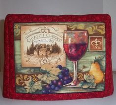 Red Toaster Cover with Wine  2 slice toaster by PatsysPatchwork #pcfteam