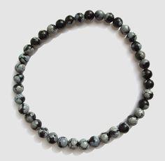 Mens Black Obsidian Stone Bead Stretch Bracelet, Black and Gray Natural Gemstone Beaded Jewelry for Men by BeadJewelryByAnita on Etsy