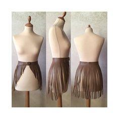 57a426c78ae Leather fringe belt skirt small size waist camel caramel light Leather  Fringe