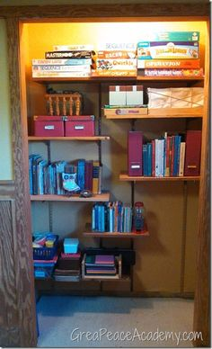 Homeschool Room Closet- looks so pretty but let's face reality here, you'd need shelves all the way across to house all of your stuff!