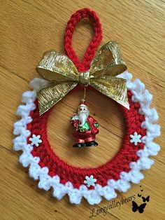 Hand Crochet Christmas Ornament Santa Ornament  by longvalleybears