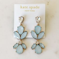 Brand new in perfect condition Crystal Earrings, Drop Earrings, Kate Spade Earrings, Blue Crystals, Brand New, Jewelry, Jewlery, Jewerly, Schmuck