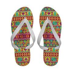 acid weave flip flops #sharonturner #zazzle #summer #tribal #flipflops