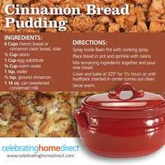 Bean Pot Cinnamon Bread Pudding. Yum, yum! Easy and delicious from Celebrating Home Direct!