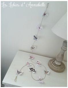 Guirlande de papillon en papier Shabby Chic et vintage