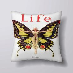 Life Magazine The Flapper Butterfly - Cushion Fabric Panel Or Case or with Filling