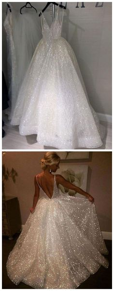 A Line Backless Beach Wedding Dress V Neck Sequins Ivory Wedding Gowns#weddingdress #beachwedding #backless