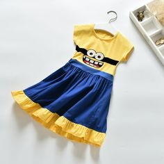 2017 In summer of girls short sleeve cartoon cotton dress princess Minions print patchwork o-neck dresses for baby kids 2-7Y