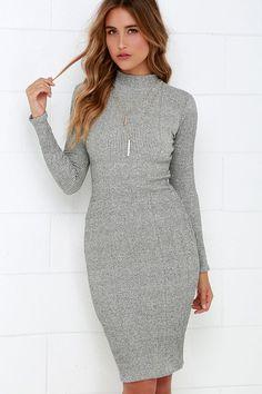 I Mist You Heather Grey Midi Sweater Dress - Bodycon Dress - Chic Grey Dress - Midi Dress - Sweater Dress