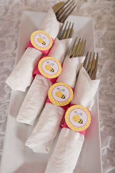 Bumble Bee Napkin Rings Baby Shower - Hot Pink & Yellow