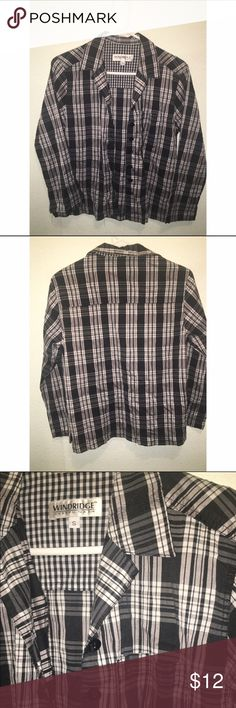 Flannel Top •Flannel top. Not a warm Flannel, just like a button up shirt!! Cute pocket.  •Condition: great condition. SALE is FINAL  •Please feel free to make offers! ✅  •NO ❌🅿️🅿️or Ⓜ️erc❌ •I am able to model (almost all of) items I have posted! If I haven't already- just ask 😊  •Measurements & more pictures available upon request!  •FREE GIFT INCLUDED 🎁 Wind Ridge Tops Button Down Shirts