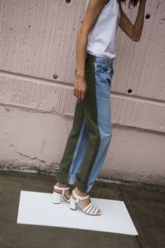 BLESS,JEANS PLEAT FRONT TROUSERS, OLIVE GREEN - SOLD OUT