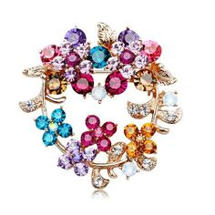 Swarovski Color Crystal Garland Brooches Gold