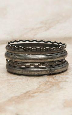 West & Co® Burnished Silver Set of 6 Bangle Bracelets