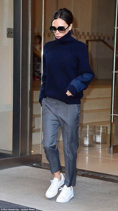 Victoria Beckham is dressed down in trainers ahead of NYFW show | Daily Mail Online