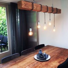 """Wooden beams with padded cord and light sources, wooden beam lighting, """"Douglas One"""", industrial wooden pendant lamp Edison Lampe, Deco Luminaire, Wood Chandelier, Pendant Lamps, Rustic Lamps, Farmhouse Lighting, Bar Lighting, Beams, Sweet Home"""