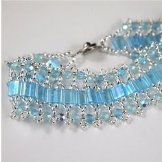 Chantilly Lace Hand Beaded Bracelet in Aqua by ChainedByLightness, $60.00