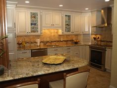 A niche for the refrigerator creates space for the cook in this tuscan kitchen #Kitchen #Remodeling
